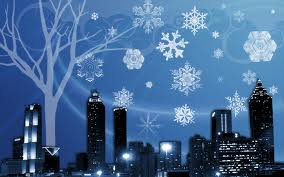 Snowflakes.city.skyline