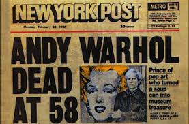 Andy warhol death - newspaper headline