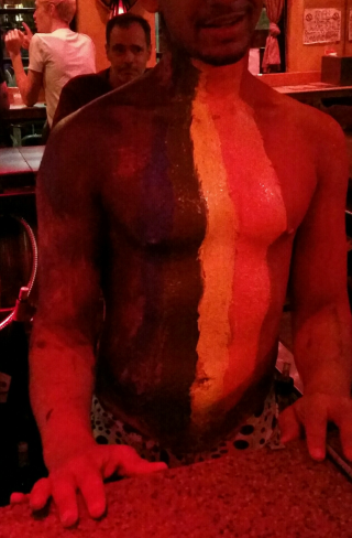 Rainbow chest at the monster bar