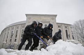 Snow at yankee stadium