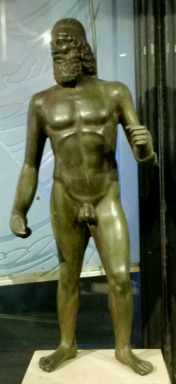Greek statue at monster