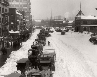 Snowy street in nyc in 1920