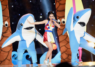 Katy perry performing at super bowl with sharks