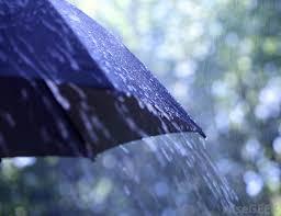 Weather.downpour on umbrella
