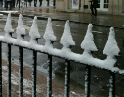 Wrought iron covered with snow