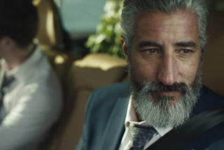 Volvo ad with bearded man